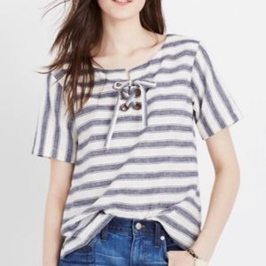 Madewell Lace Up Striped Top